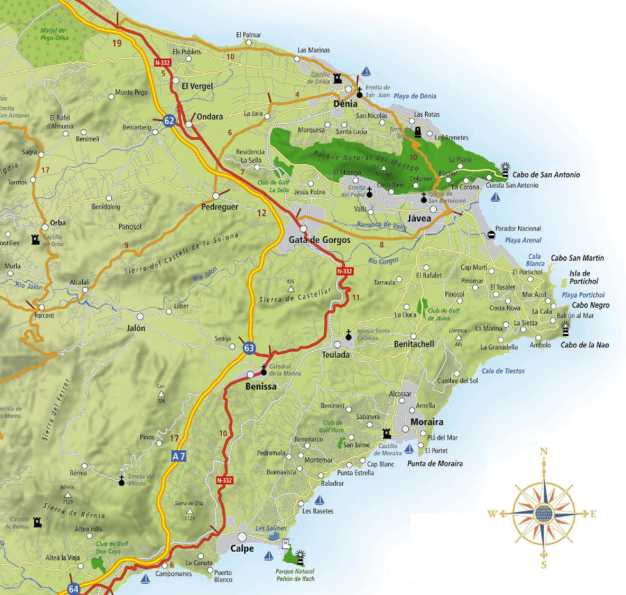 Marina Alta Map